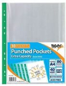 Tiger A4 Extra Capacity Large Punched Pockets Pack 10